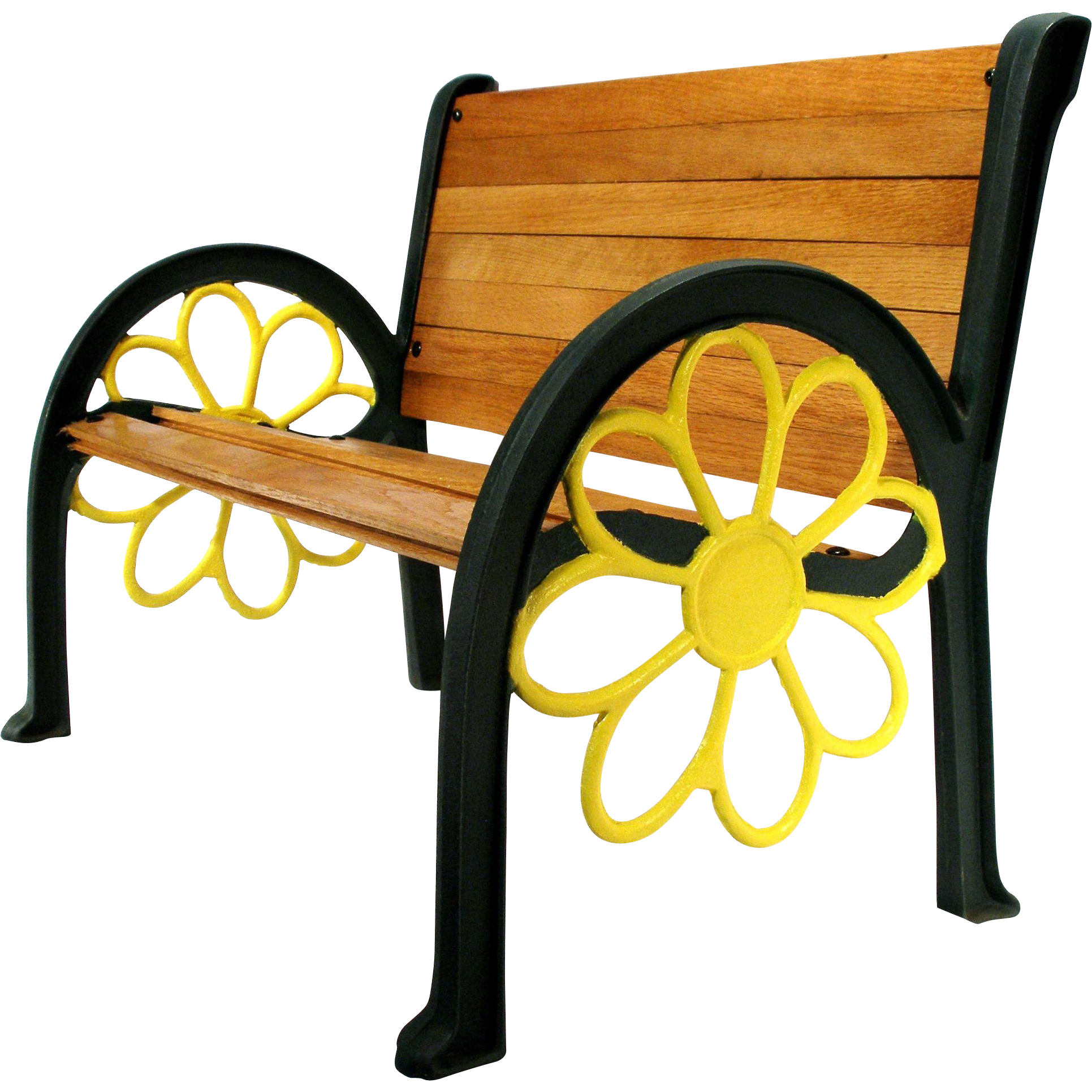 Vintage Sunflower Cast Iron Wood Slat Patio Garden Porch Park Chair Bench