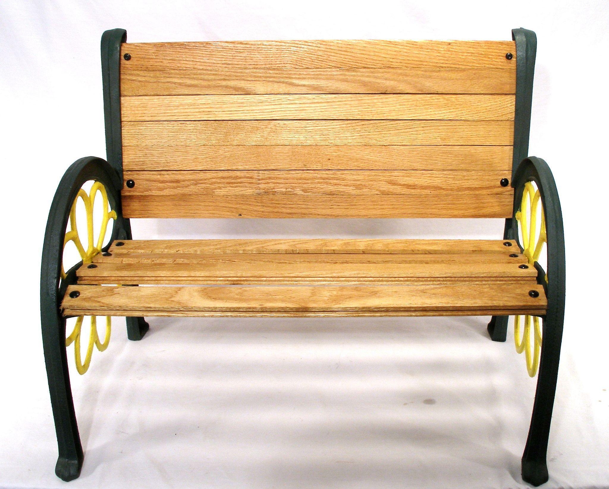 Vintage Sunflower Cast Iron Wood Slat Patio Garden Porch Park