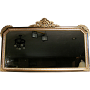 Antique Victorian French Rococo Gold Gilt Wood Frame Ornate Wall Mantle Mirror