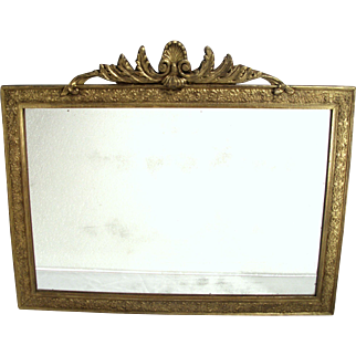Antique Victorian Art Nouveau Shell Top Gold Gilt Wood Frame Foliage Wall Mirror