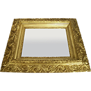 Antique Victorian Art Nouveau Gold Gilt Wood Frame Scroll Foliage Wall Mirror