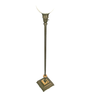 Art Nouveau Style 3 Way Mogul Torchiere Marble Metal Art Floor Lamp Light