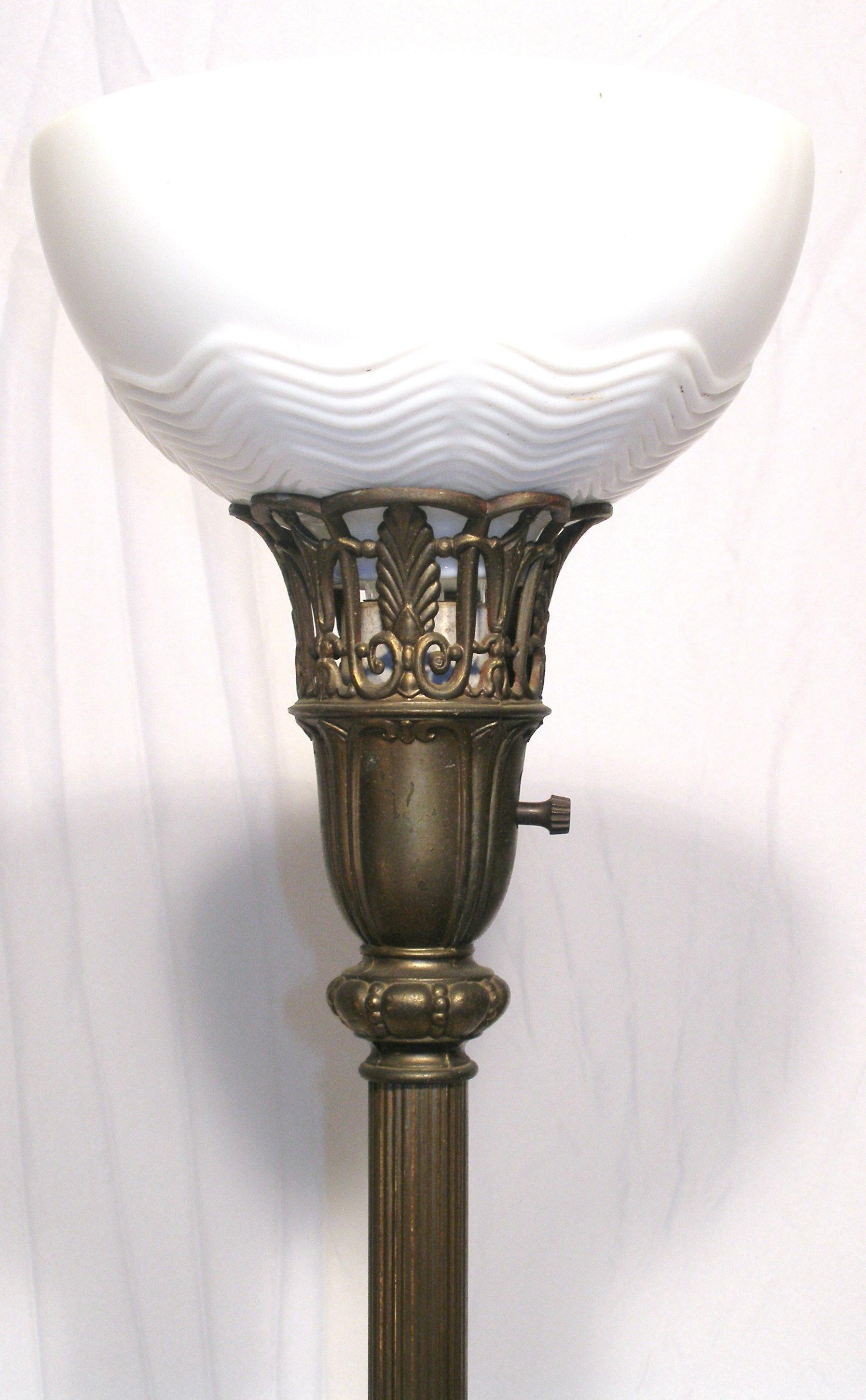 Art Nouveau Style 3 Way Mogul Torchiere Marble Metal Art