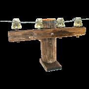 Antique Hemingray Telegraph Insulators Pole Cross Bar Wire Bolt Wood Inserts Table Display