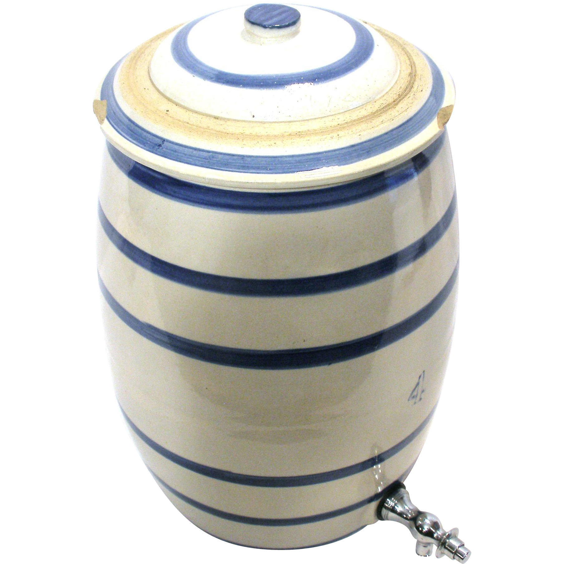 Antique Water Beer Cooler White Cobalt Blue Stripe