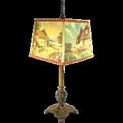 Vintage Tea Table Parlor Lamp Light Fancy Cabin Cottage Signed Albi Rare Shade