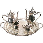 Vintage International Camille 6001 Silver Coffee Tea Pot Tray Nouveau 5 Piece Set