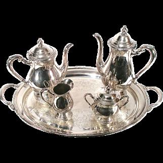 Vintage International Camille 6001 Silver Coffee Tea Pot Tray Nouveau 5 Piece Set