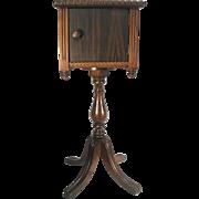 Antique Arts Crafts Solid Walnut & Mahogany Wood Humidor Smoking Stand Table