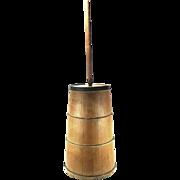 Antique Primitive Large Old Banded Wood Slat Butter Milk Churn With Dasher & Lid