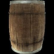 Antique Country Store Oak Wood Slat Banded 10 Gal Water Whiskey Dry Goods Barrel Sugar Firkin