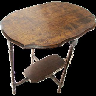 Antique Arts & Crafts Mission Stacked Spool Turned Oak Wood Side Tea Urn Telephone Lamp Hall Table