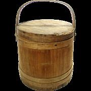 Antique Bent Wood Banded Oak Slat Sugar Firkin Barrel Bucket With Lid
