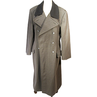 Authentic N V A Nationale Volksarmee Army German Military People's Police Wool Cold Weather Long Trench Coat Jacket