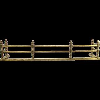 Antique Arts Crafts Fireplace Brass Gate Rail  Fire Rail Screen Floor Base Fender
