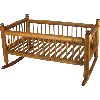 Vintage Hand Crafted Mission Style Solid Oak & Spruce Wood Slat Baby Doll Cradle