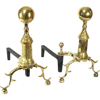 Virginia Metal Crafters Large Ball Top Rooster Spur Claw Fire Place Brass Andirons Fire Dogs