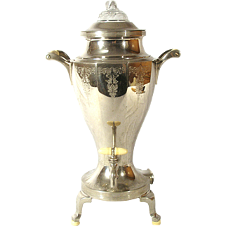 Universal Landers Frary & Clark Silverplate Electric Samovar Coffee Pot With Percolator Basket Strainer Top & Original Cord.