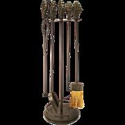 Vintage Bronzed Metal Acanthus Leaf Decorative Top Art Nouveau Fireplace Tools 4 Tools & stand