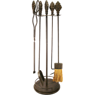 Vintage Bronzed Metal Acanthus Leaf Decorative Top Art Nouveau Fireplace Tools 4 Tools & stand