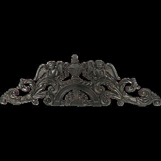 Antique Art Nouveau Cherub Angel Decorative Cast Iron Sign Holder, Wall Art, Mantel Art, Or A Garden Accent.