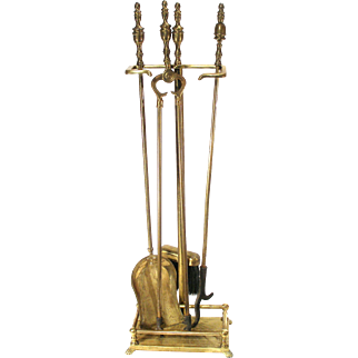 Vintage Art Deco Brass Fireplace Fire Place 5 Piece Tool Set Including Gated Stand