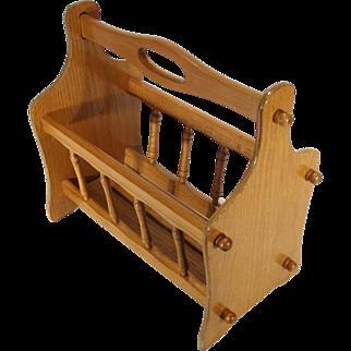 Vintage Mid Century Modern Honey Oak Wood Baluster Magazine Lap Top Rack Stand