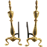 Vintage Solid Brass Queen Anne Federal Cabriolet Leg Fire Place Andirons Dogs