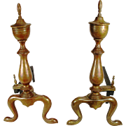 Antique Brass Chippendale Style Urn Top Cabriolet Leg Fire Place Andirons Dogs