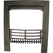 Antique Cahill Art Nouveau Cast Iron Door Frame Surround Fire Place Grate Set