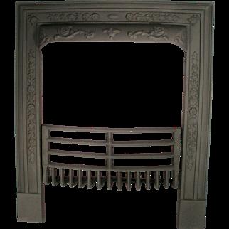 Antique Cahill Art Nouveau Cast Iron Door Frame Surround Fire Place Grate Set