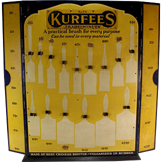 Vintage 1920's Old Country Store Kurfees Paint Brush Cabinet Advertising Ad Sign Display