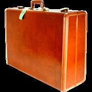 Vintage Samsonite Brass Leather Shwayder Bros Train Airplane Luggage Suitcase
