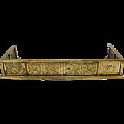 Antique Arts & Crafts Embossed Brass Gate Post Fire Rail Pillar Finial Fireplace Fender