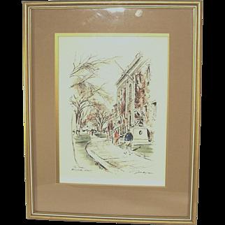 Vintage Signed Illustrator John Hayman Watercolor The Yard Harvard Univ Painting