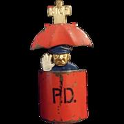 Vintage Man Enamel Brooch RARE Figural 1930's Hattie Carnegie Pop up Police Mechanical Pin