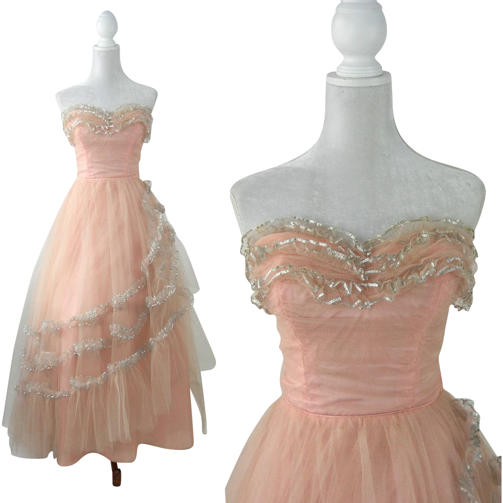 Vintage 1950s Pink Amp Silver Strapless Gown Wedding