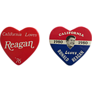 "Authentic ""California Loves Reagan"" Heart Shaped Political Buttons (Pair)."