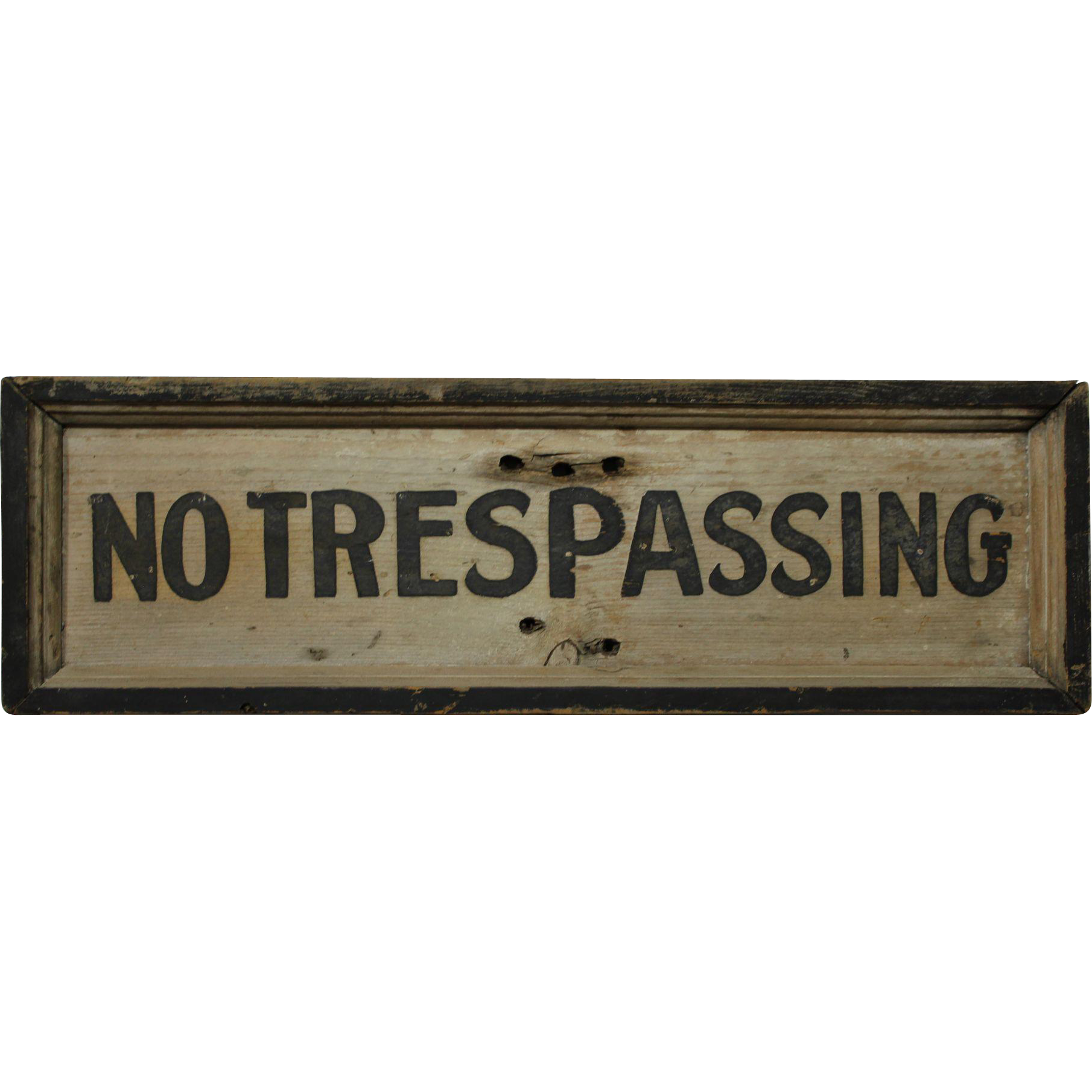 """Vintage """"NO TRESPASSING"""" Wooden Sign from rubylane-sold on ..."""