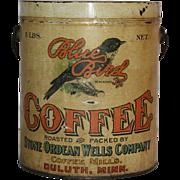 Blue Bird Coffee Tin Pail