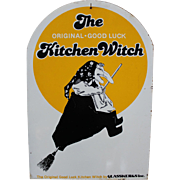 Good Luck Kitchen Witch Metal Sign