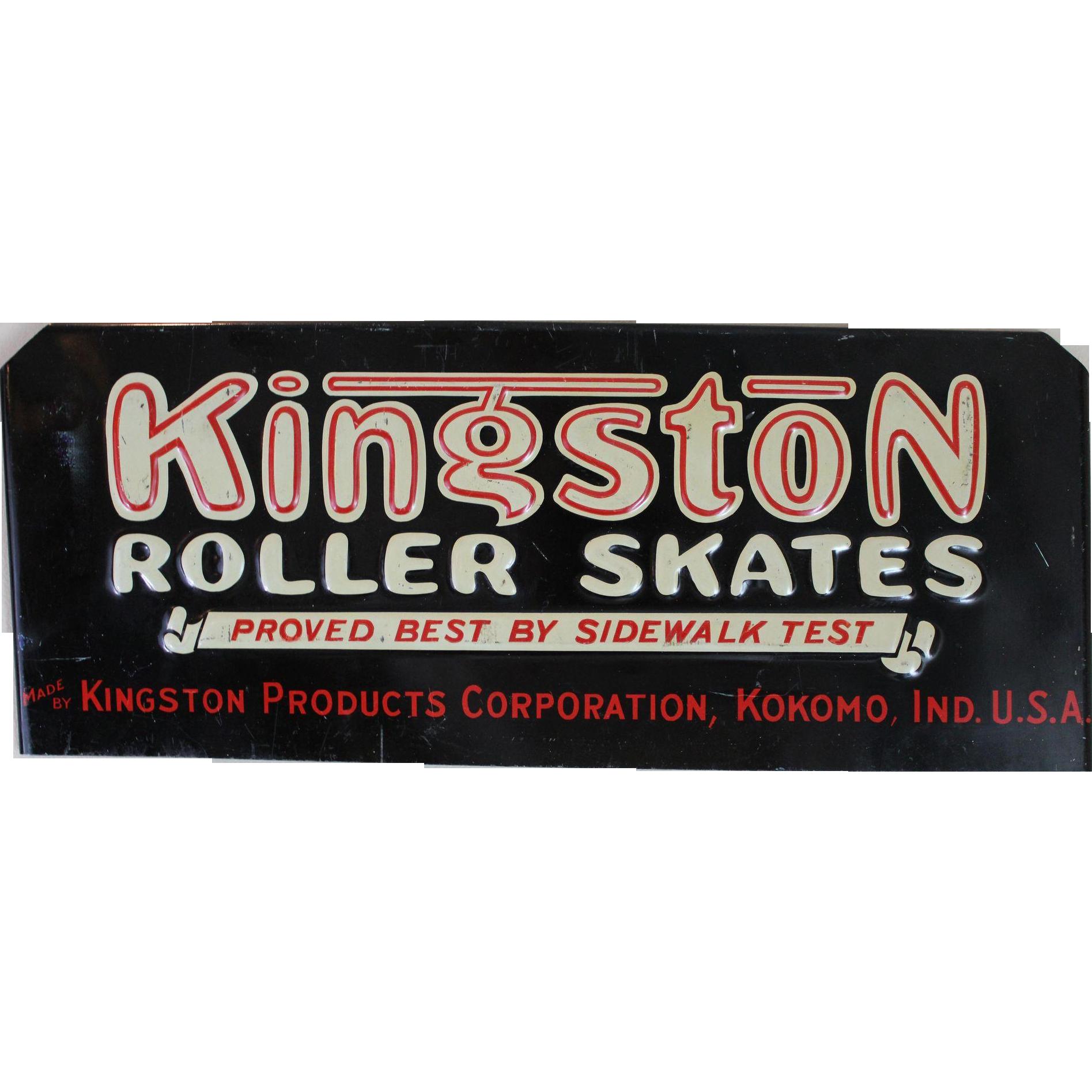 Roller skates kingston - Embossed Kingston Roller Skates Metal Sign