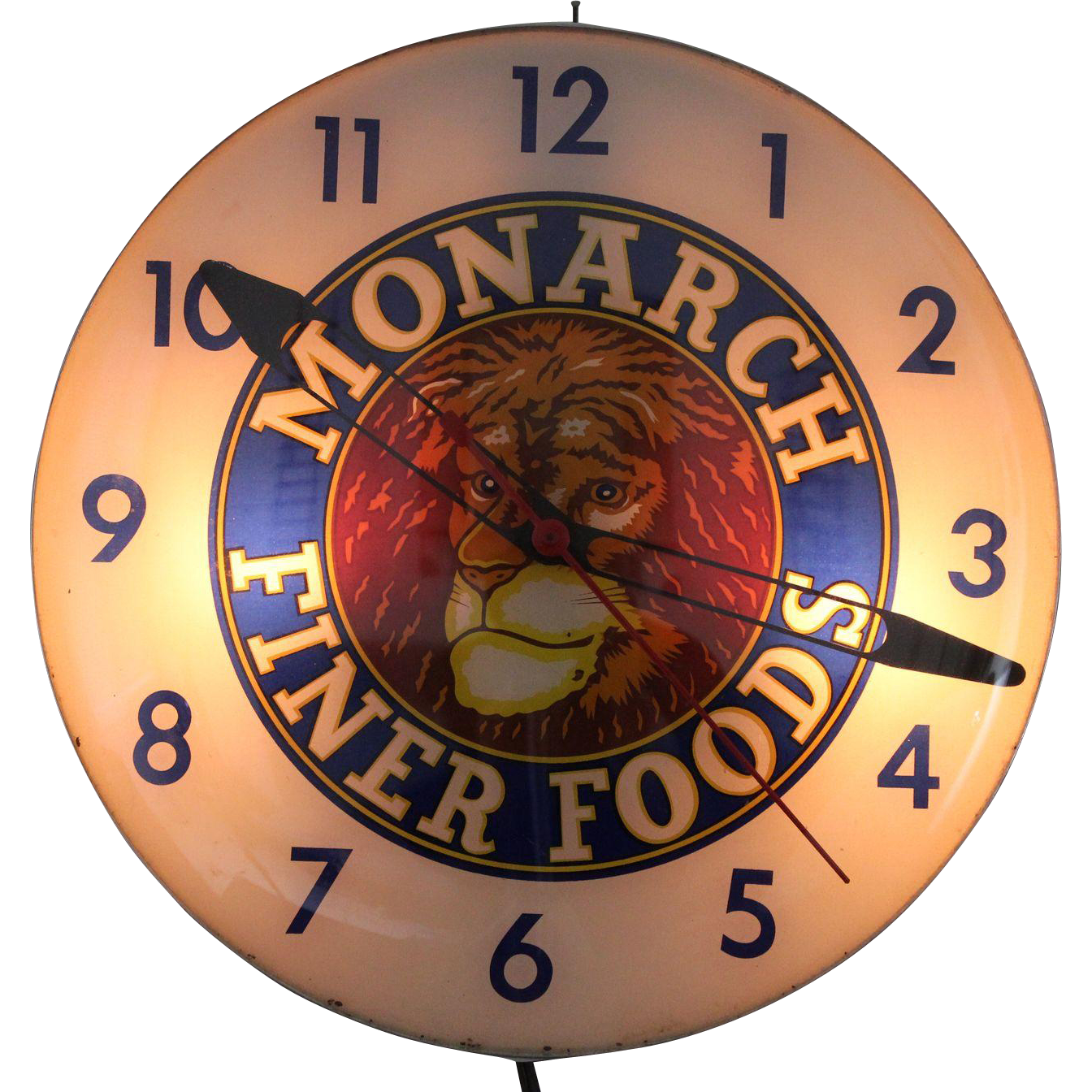 vintage monarch finer foods lighted advertising clock from