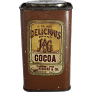 """Vintage Delicious Brand """"JAG"""" Cocoa Tin"""