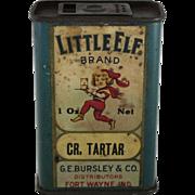 """Vintage """"Little Elf"""" Brand Cream Tartar Spice Tin"""