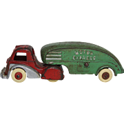"Hubley Cab Truck with ""Motor Express"" Van Trailer"