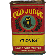 "Vintage ""Old Judge"" Cloves Spice Container"