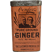"Vintage ""Confer's"" Pure Ground Ginger Spice Tin"