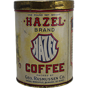 Vintage Hazel Brand Coffee Tin