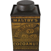 Vintage Unopened Maltby's Gold Brand Cocoanut Tin